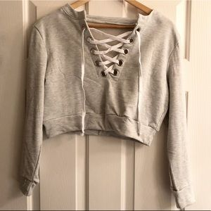 Tops - Lace up crop sweater